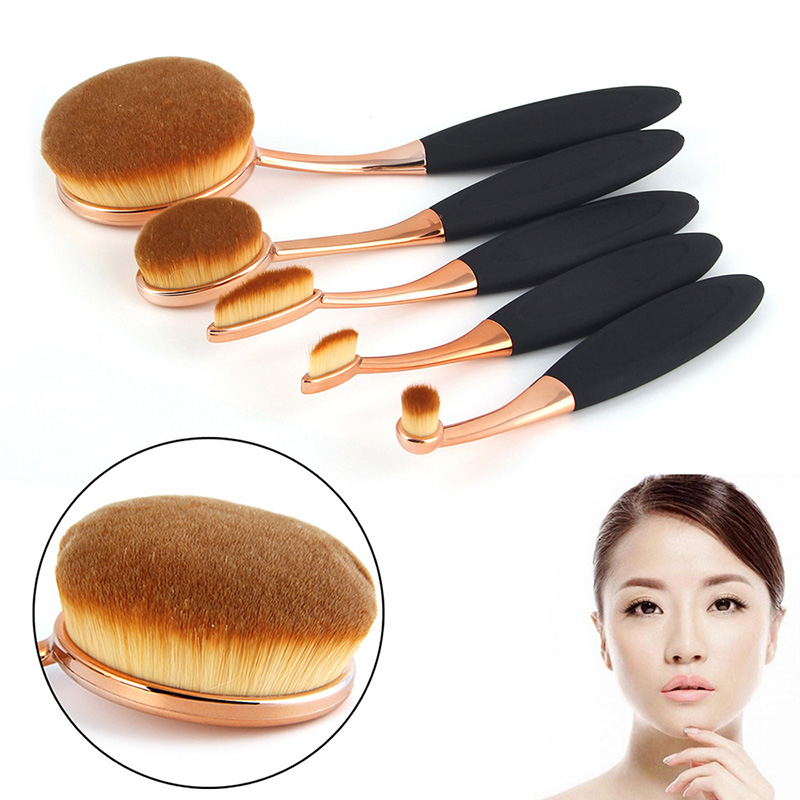 New 5 Piece Oval Brush Make Up Toothbrush Shape Set Rose Gold Oval Makeup Brush Set