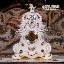 European table clock creative personality ceramic gold watch. Sitting room decoration Ivory porcelain ornaments
