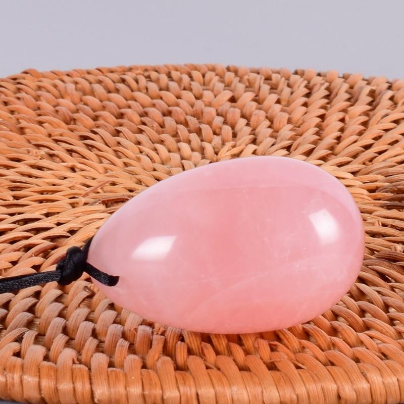 Drill Natural Rose Quartz Yoni Egg Natural Mineral Quartz Healing Massage Ball Jade Eggs Kegel Exercise Pelvic Floor Muscle