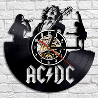 Rock Band CD Record Clock Modern Timepiece Music Lover Home Decor Wall Clock Creative And Antique
