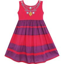 Lovely Summer Striped Beaded Red Cotton Dress Size 12M-5Yrs