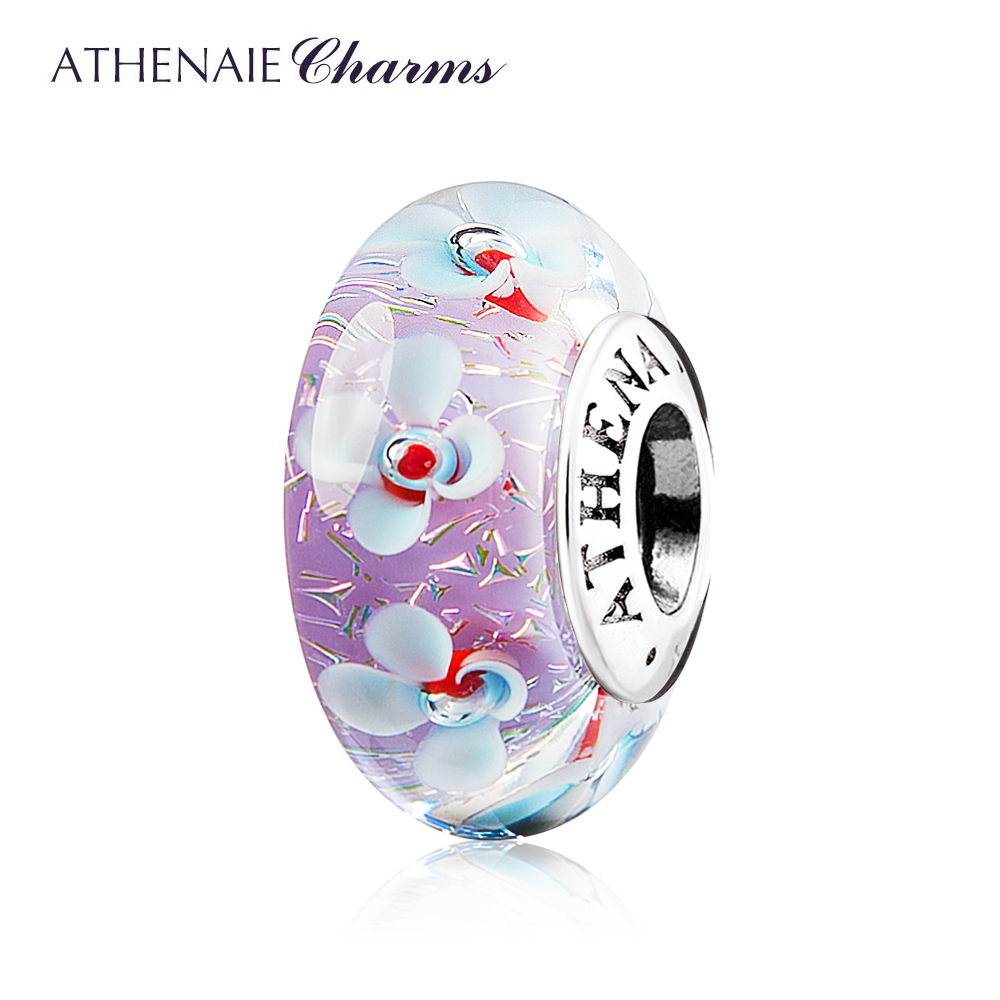 ATHENAIE Murano Glass 925 Silver Core Purple Field of Flowers Charms Bead Color Purple For Girl DIY Bracelets & Bangles