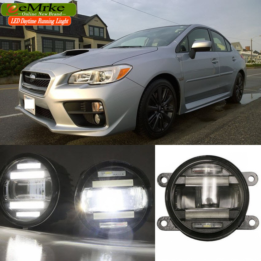 eeMrke Xenon White High Power 2in1 LED DRL Projector Fog Lamp With Lens For Subaru WRX STI 2015 eemrke xenon white high power 2 in 1 led drl projector fog lamp with lens daytime running lights for renault kangoo 2 2008 2015