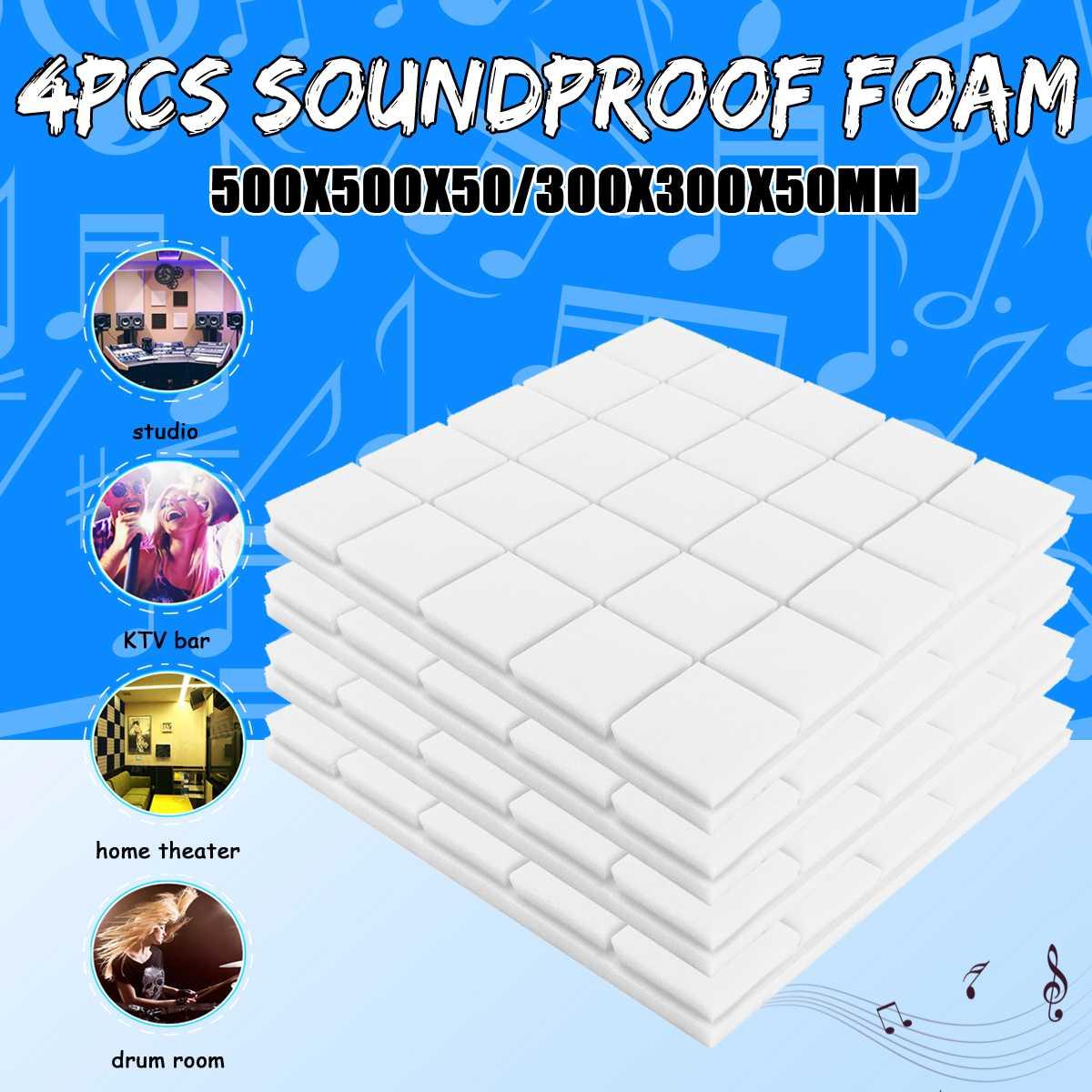 4pcs50x50x5cm Studio Acoustic Soundproof Foam Sound Absorption Treatment Panel Tile Wedge Protective Sponge