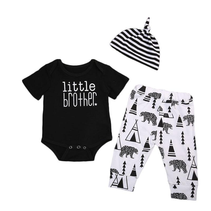 Cotton Newborn Infant Baby Boy Clothes Short Sleeve Romper Tops + Long Pants + Hats 3PCS Outfit