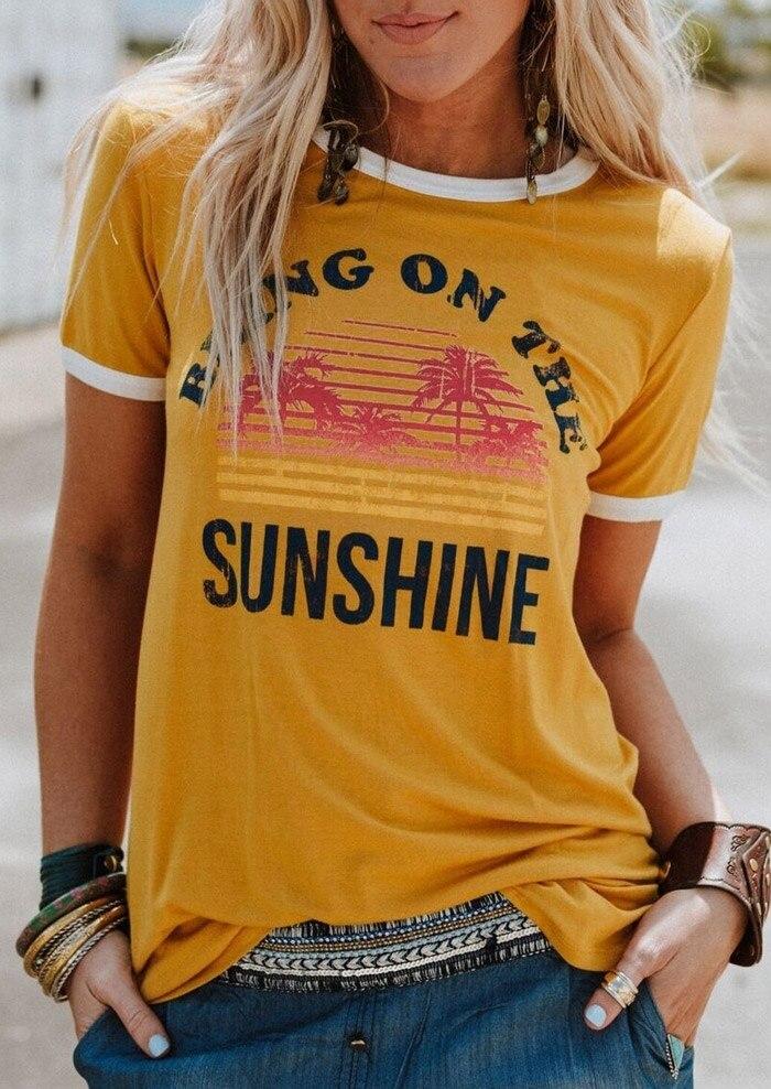 VESSOS amarillo 3XL poliéster camiseta de traer en el sol letra impresión manga corta Camiseta Top sin mangas de las mujeres