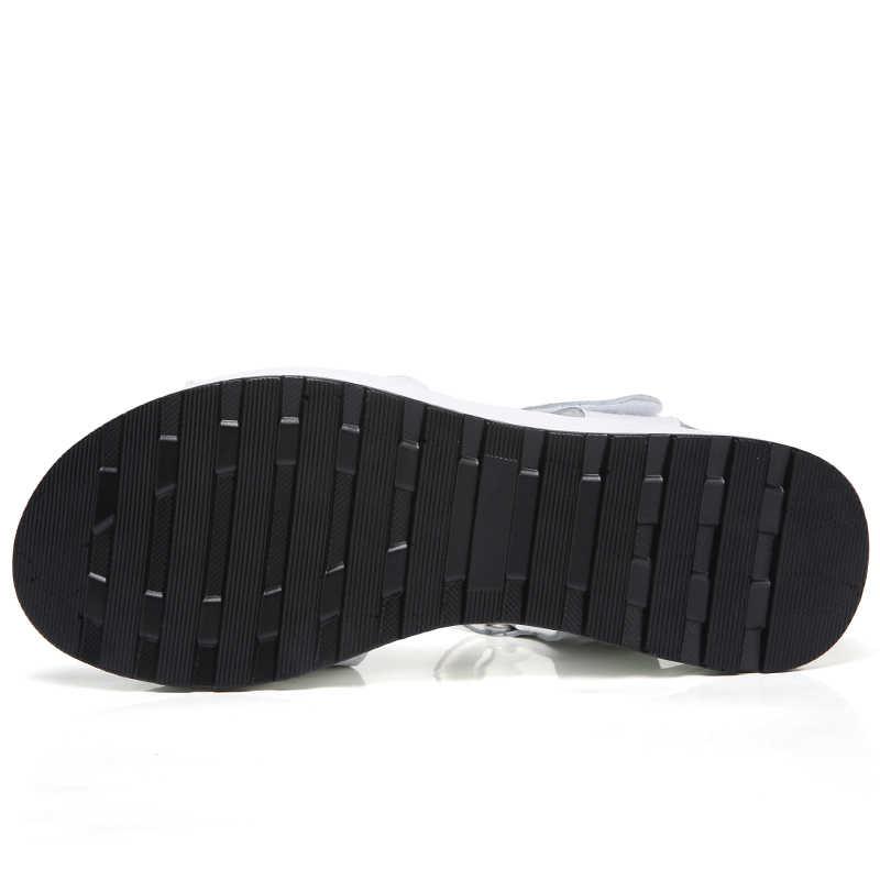 Oryginalne skórzane damskie sandały buty platformy damskie białe trampki sandały buty 2018 letnie otwarte toe moda szpilki obuwie