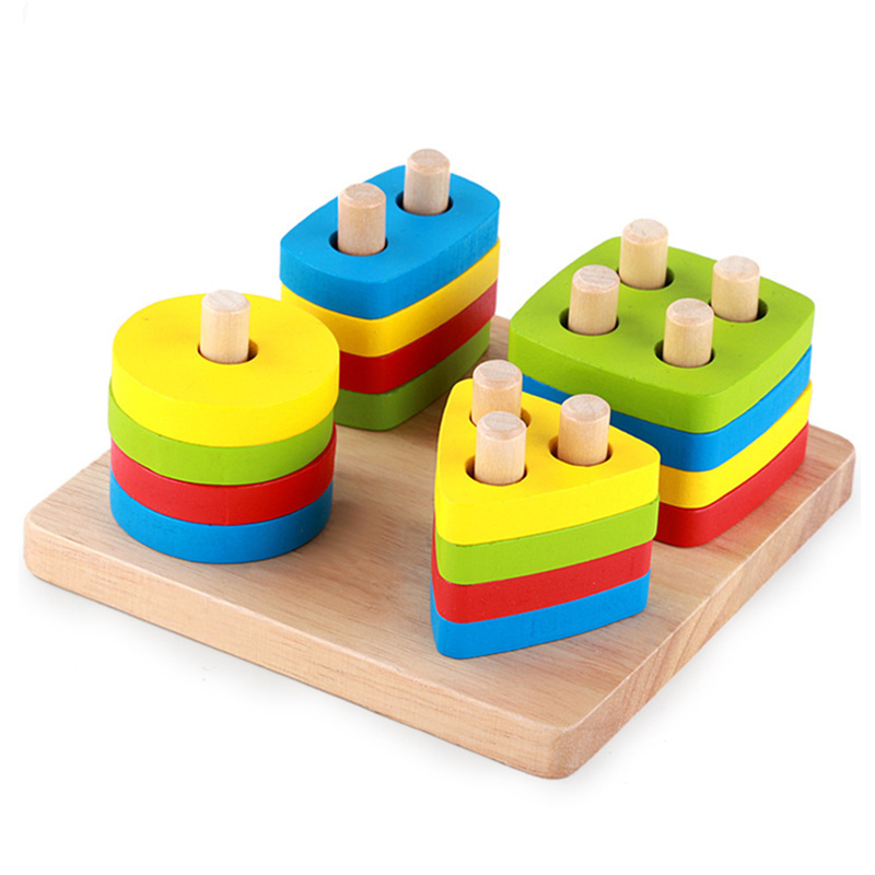 Baby font b Toys b font Wooden triangle square round rectangle Geometric Sorting Board Blocks Kids