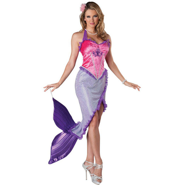 Adult Mermaid Dress game Night club DS Tail Skirt Masquerade Uniform Party  clothing Sexy fish animal Cosplay Costume Halloween bd55ef72c4a2