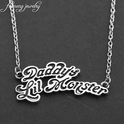 feimeng jewelry Movie Suicide Squads Joker Quinn Necklaces Daddy's Lil Monster Letter Logo Pendant Necklace For Women Gifts