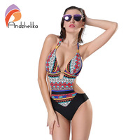 Andzhelika 2017 New One Piece Swimsuit Women Summer Bodysuit Sexy Brazilian Halter Swimwear Vintage Print Swim