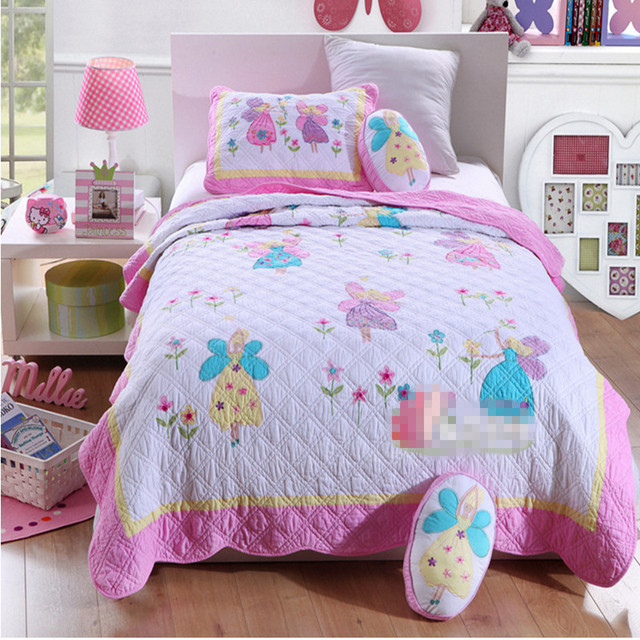 couvre lit patchwork fille Free shipping girls butterfly fairy twin size quilting 100%cotton  couvre lit patchwork fille