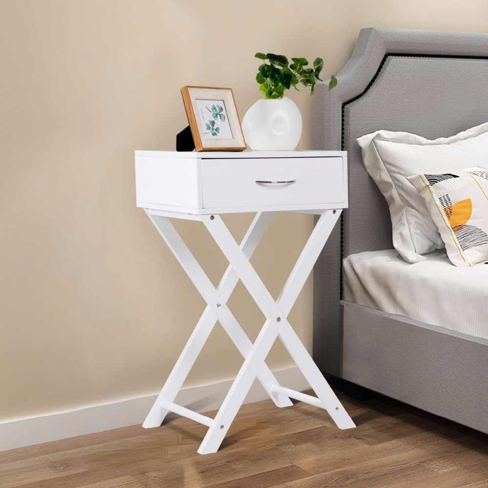 Giantex Nightstand X-Shape Drawer Accent side End Table Modern Home Furniture White HW55474WH