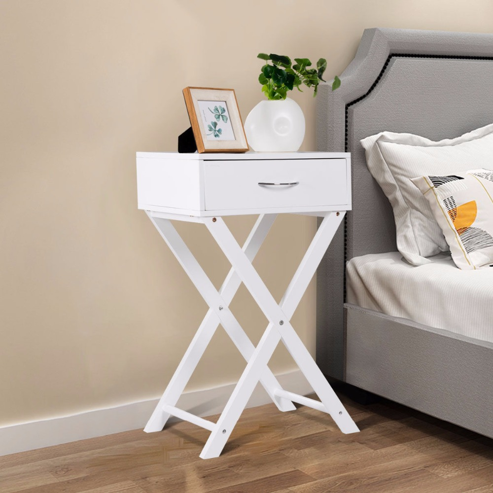Giantex Nightstand X Shape Drawer Accent Side End Table