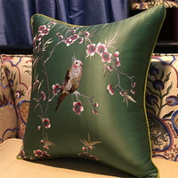 free shipping classical colours birds throw Pillow with inner 45x45cm Pillow embroidery sain cushion pillow