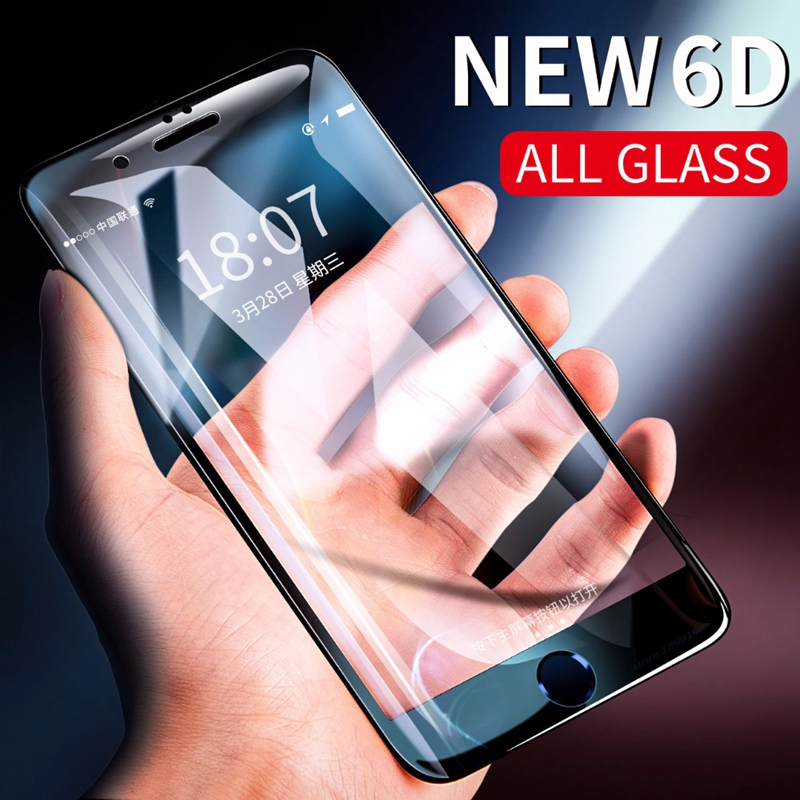 CASPTM 6D Full Cover Tempered Glass For iPhone 8 Plus 7 6 6S X XS Max XR Glass For iPhone 8 Plus Curved Edge Screen Protector