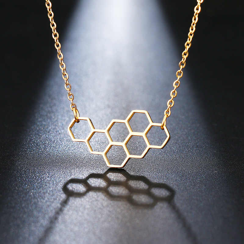 DOTIFI Stainless Steel Necklace For Women Lover's Heart Honeycomb Bee Animal Pendant Choker Necklace Jewelry Party Prom Gift
