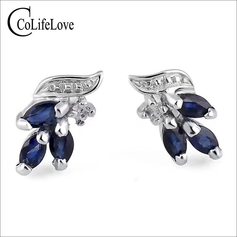 Elegant 925 silver sapphire stud earrings for party natural dark blue sapphire silver earrings sterling silver sapphire jewelry nokia 230 dark silver