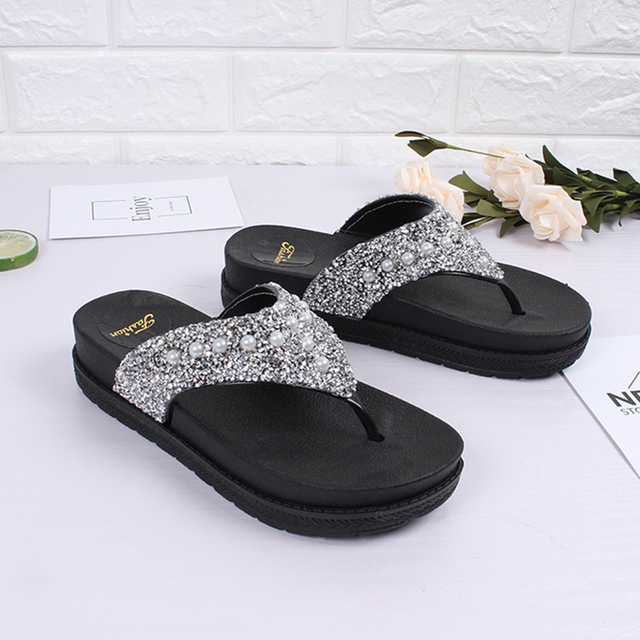 285aefeea Gold silver glitter flipflops summer bling bling platform sandals woman  thick bottom anti-skid slides girls beach cozy slippers