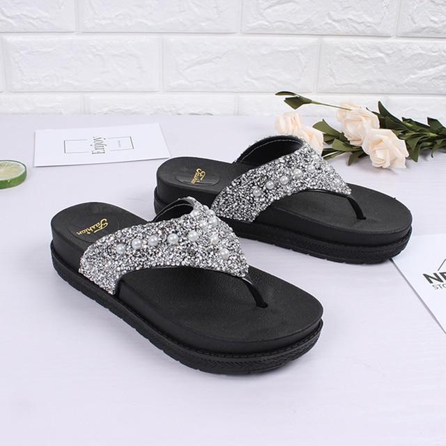 6cbe77208ba373 Gold silver glitter flipflops summer bling bling platform sandals woman  thick bottom anti-skid slides girls beach cozy slippers