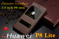 Huawei Ascend P8 Lite Case Cover Smart Window Products Free Flip Answer Style Genuine Leather Phone