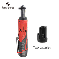 Prostormer 12V Rechargeable Electric Cordless Ratchet wrench with 2 Lithium Batteries 90 degree Portable electric wrench repair