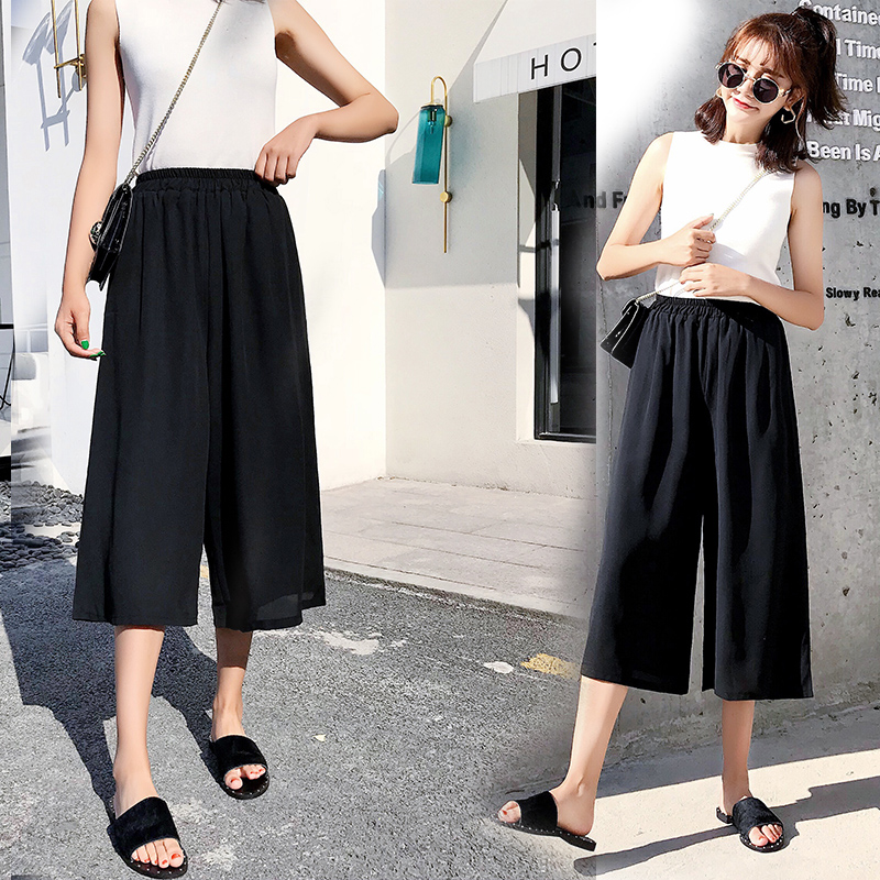Fashion Plus Size Women Chiffon Wide Leg Pants 2018 Summer New Hot Female Loose Elastic Waist Pants Trousers Bottoms S-5XL