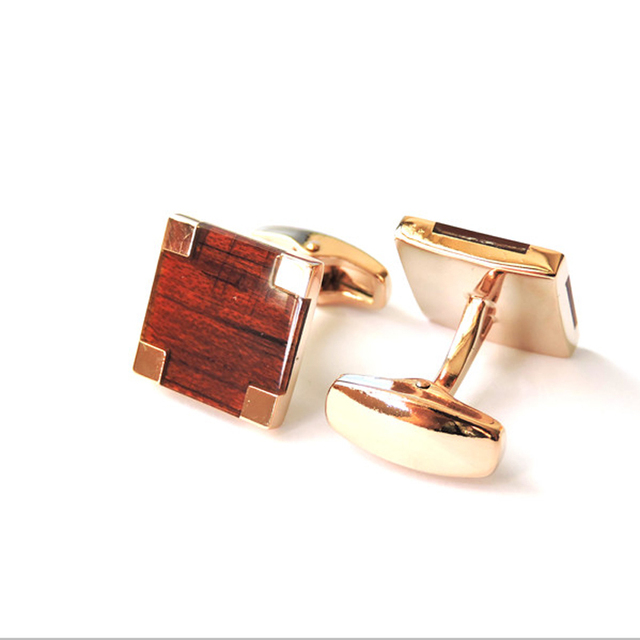 Red Square Wooden Rose Gold Cufflinks