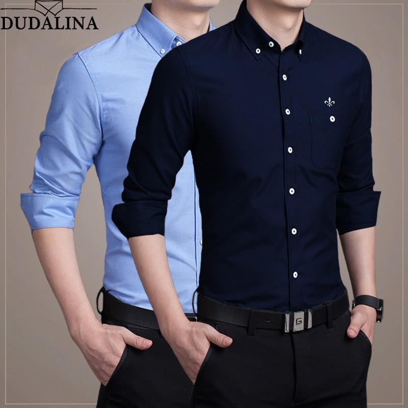 f91ab323377 DUDALINA Новая Осенняя Модная брендовая мужская одежда Slim Fit Мужская  рубашка с длинным рукавом мужские Рубашки