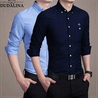 DUDALINA New Autumn Fashion Brand Men Clothes Slim Fit Men Long Sleeve Shirt Men Shirts Casual Men Shirt Social Plus Size M 5XL