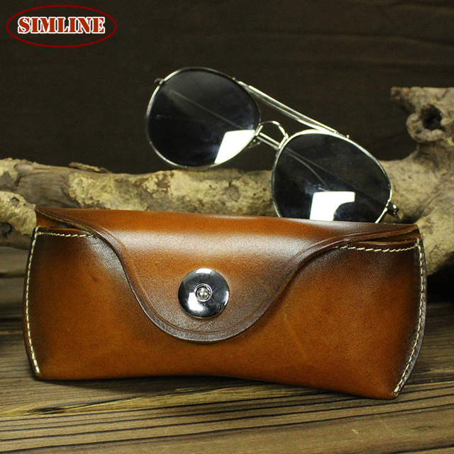 New Vintage Casual Handmade Genuine Vegetable Tanned Leather Cowhide Men Women Sun Glasses Case Cases Box Waist Bag Bags For Man