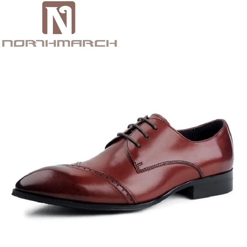 NORTHMARCH New Brogue Designer 100% Genuine Leather Business Dress Shoes Men Classic Wedding Shoes Luxury Black Casual Oxfords men luxury crocodile style genuine leather shoes casual business office wedding dress point toe handmade brogue footwear oxfords page 4 page 5 page 1
