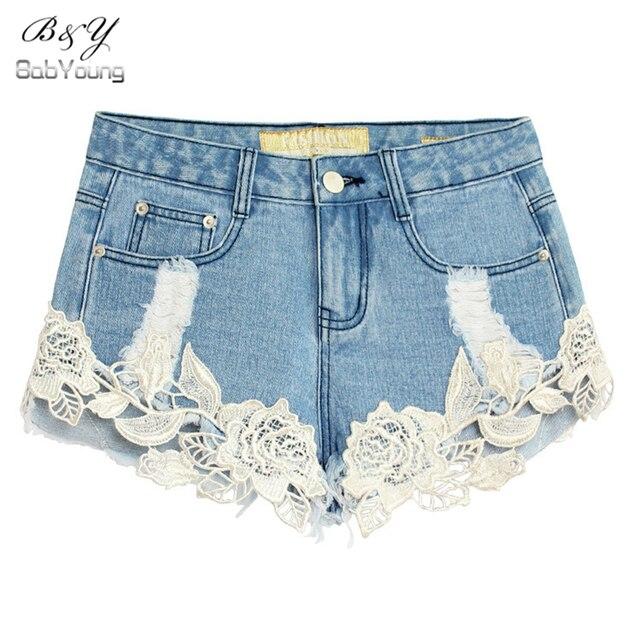 European Style New Hollow Out Ripped Crochet Lace Shorts Summer Sexy Hole Denim Shorts Women Short De Cintura Alta