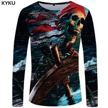 KYKU Skull T shirt Men Long sleeve Pirate Rock The Sea Graphic Punk Printed Tshirt Gothic Cool 3d T-shirt Mens Clothing