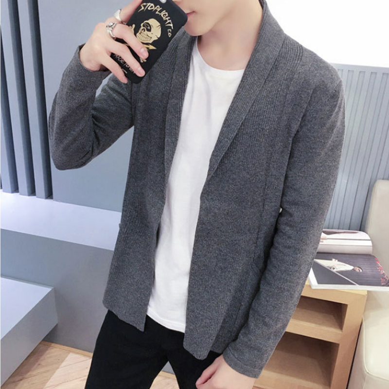 2018 Black Long Mens Sweaters Winter Brand Clothing V neck Casual Cardigan Male Sweaters Men s