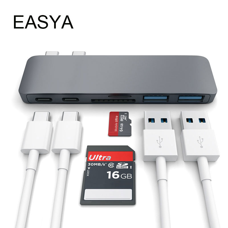 EASYA Wholesale USB C Hub Adapter Dual Ports USB Type-C Hub USB Combo with SD TF Card Reader for MacBook Pro 2017 2018 dual usb 3 1 type c hub to card reader usb c hub 3 0 adapter combo with tf sd slot for macbook pro 2016 2017 usb c power deliver