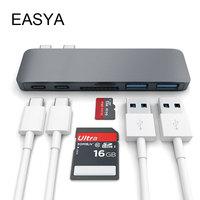 EASYA Wholesale USB C Hub Adapter Dual Ports USB Type C Hub USB Combo with SD TF Card Reader for MacBook Pro 2017