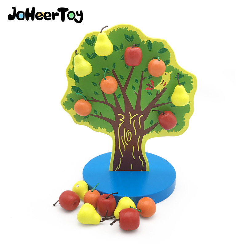 JaheerToy Magnetic Apple Orange Pear Tree Wooden Toys for Children Montessori Educational Baby Toy 3-4-5 Years Old Family Games