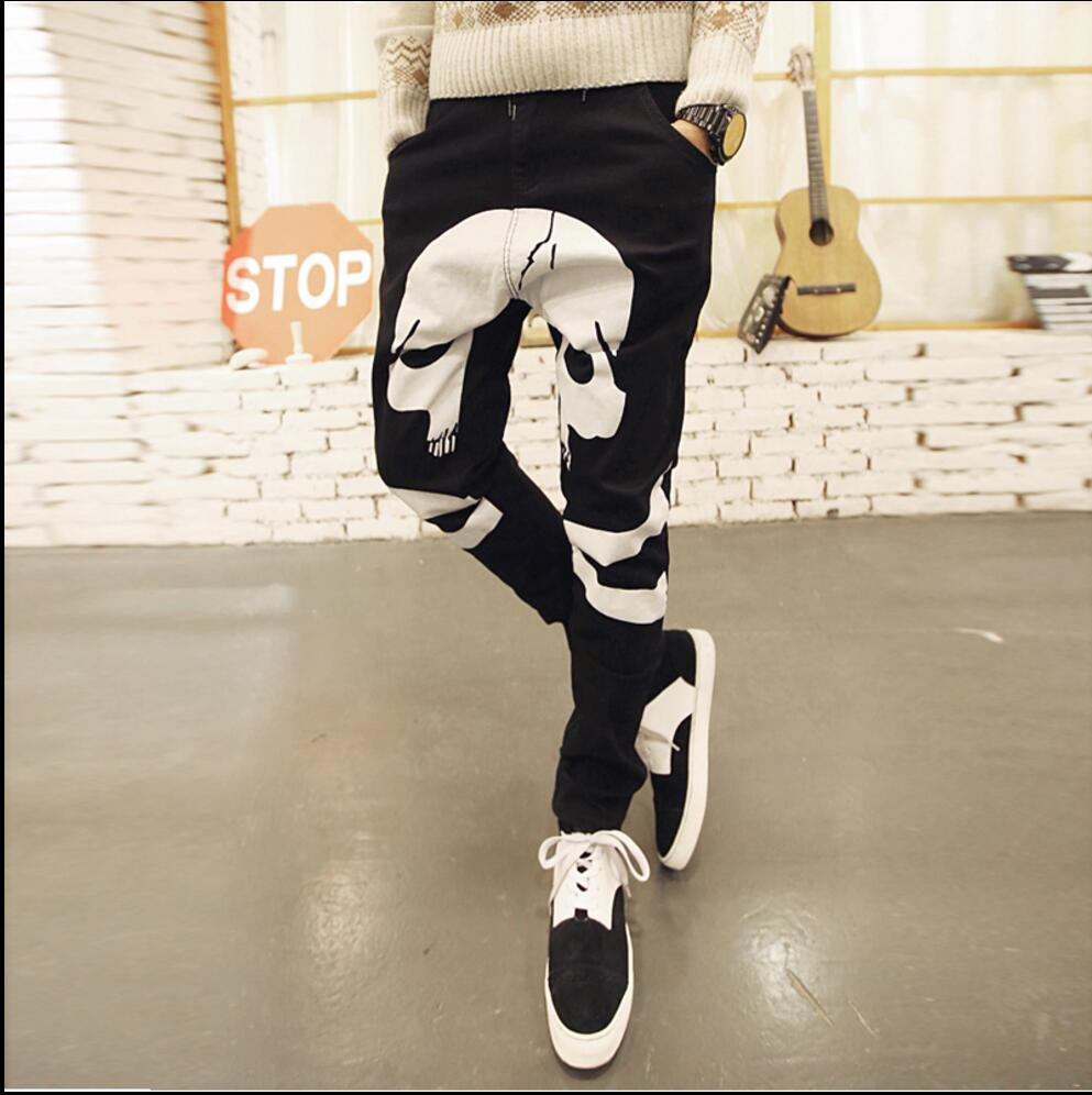 ФОТО 28-36 Men's New Non-mainstream casual jeans skull printing large crotch pants harem pants trousers tide singer costumes