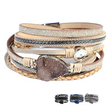 Artilady wrap leather bangle charm winter leather bracelet women jewelry Idear Gifts for Mom, Sisters and Friends(China)
