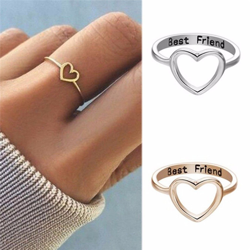 Friend Loved One Partner Size O Stainless Steel Hollow Cut Love Hearts Ring
