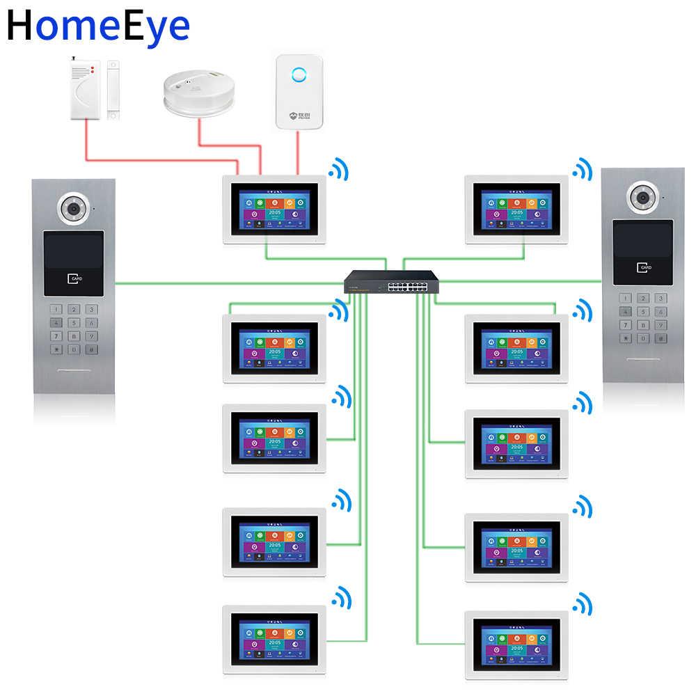 HomeEye 7 ''720 WiFi IP ビデオドア電話ビデオドアアクセス制御システムパスワード/RFID カード + POE スイッチ iOS アンドロイド