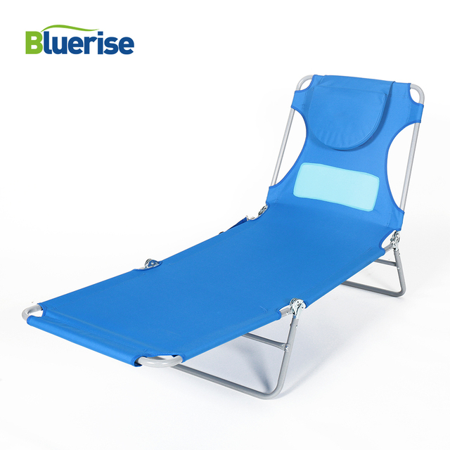 Bluerise Las Comfort Lightweight Beach Chaise Lounge 3 Position Folding Patented Open Close Face Cavity