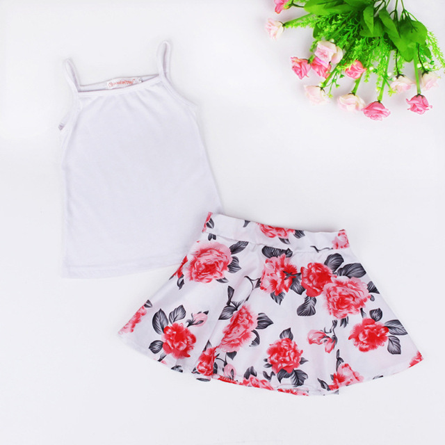 new 2017 European summer style girls white vest tops + floral skirts two piece sets roupas infantis menina
