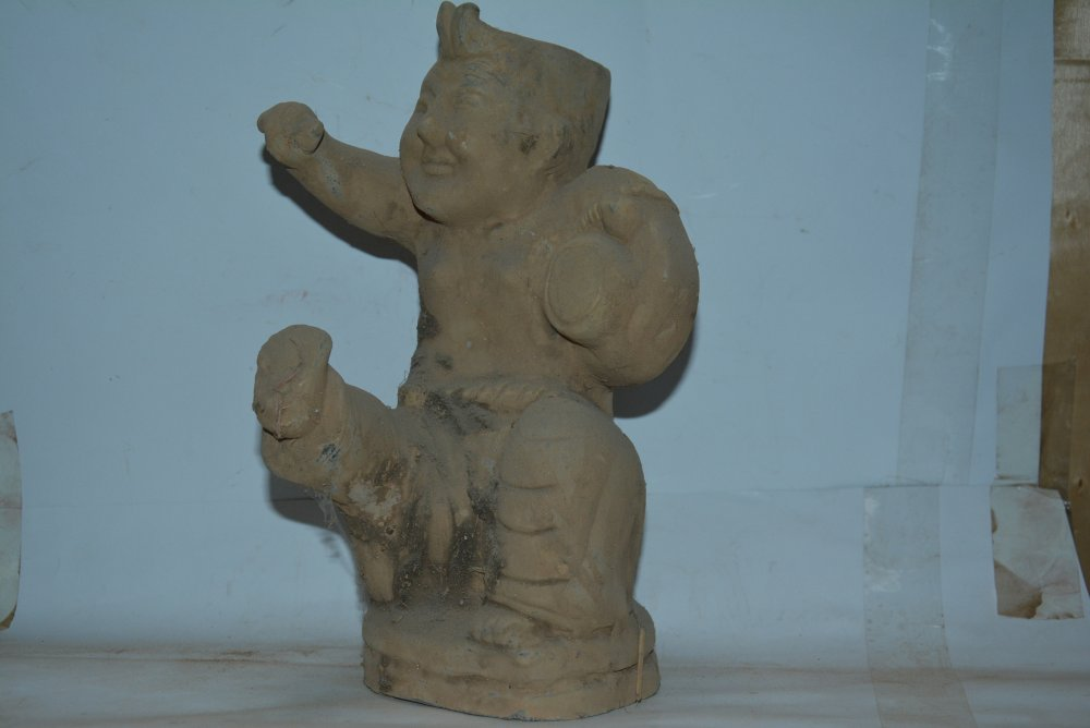 Rare Qin Dynasty (221 BC to 207 pottery figurine statue,hand painted crafts /collection & adornment,Free shipping