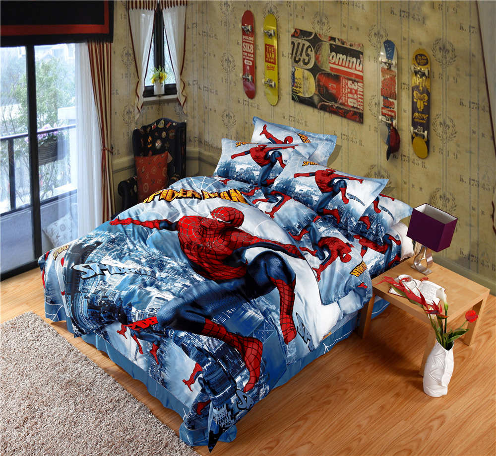 colorful comforters promotionshop for promotional colorful  - spiderman cartoon d printed comforter bedding sets twin full queen kingsize bedspread cotton boy's bedroom decor green color