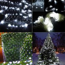 led net christmas lights 3 x2m 200led outdoor eu plug waterproof led net light party garden wedding decoration curtain lights - Led Net Christmas Lights