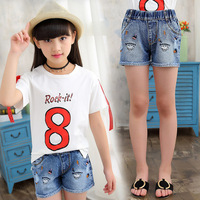 Kids Short Pants Denim Shorts for Girls Summer Cartoon Embroidery Trousers Child 4 8 9 10 12 14 14 Years Short Jeans