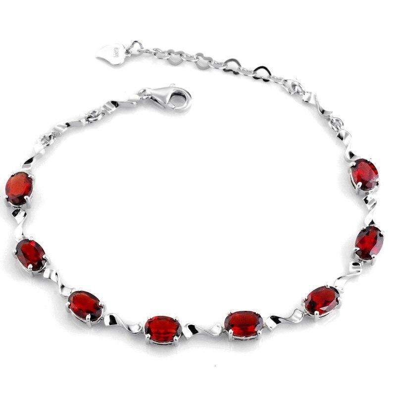 Bracelet grenat naturel lien 925 en argent Sterling femme Fine élégante gemme rouge bijoux fille pierre de naissance cadeau saint-valentin sb0046g