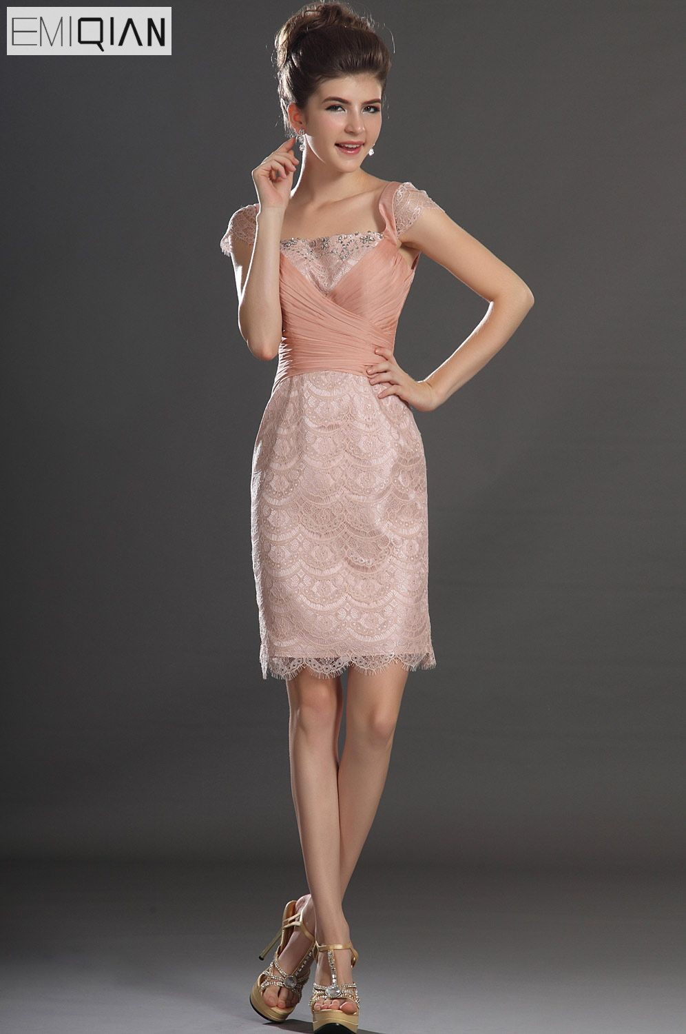 Free Shipping New Lovely Cap Sleeves Lace Cocktail Dress